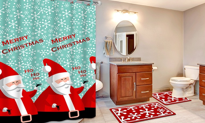 Holiday Bath Set With Mats, Shower Curtain, And Rings : Holiday Bath Set  With