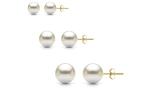 14k Gold 3-pair Genuine Freshwater Pearl Earrings