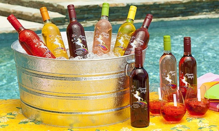 6 or 12 Bottles of Fruit-Flavored Moscato with Two or Four govino Wine Glasses from Afternoon Delight (59% Off)