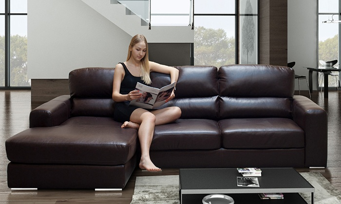 ... Groupon Goods Global GmbH: Naples Leather 2 Seat Sofa(£249) Corner  Chaise ...
