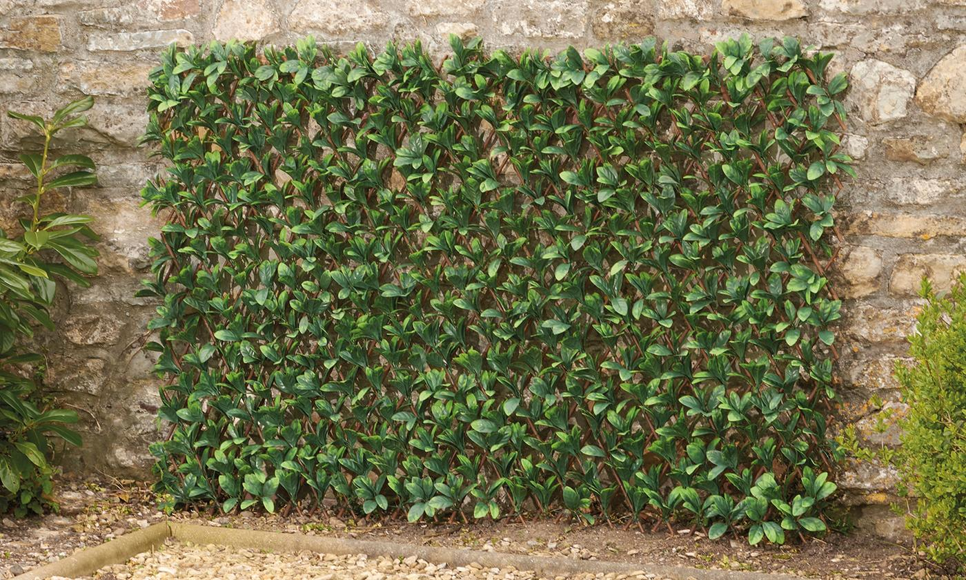 One, Two or Four Expandable Artificial Hedge Trellises: Ivy, Red Acer, Lavender, Laurel or Maple