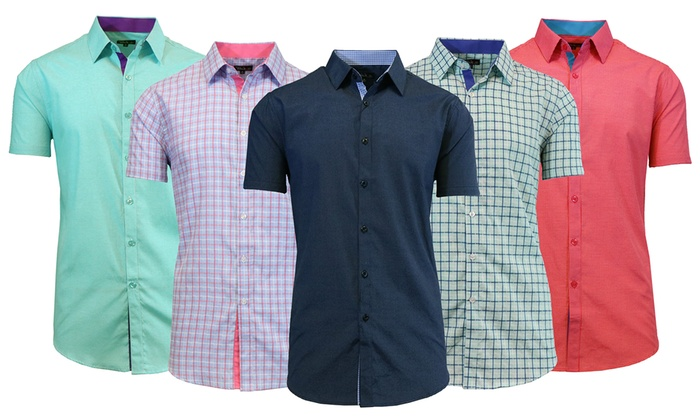Men's Slim-Fit Short-Sleeve Button-Down Shirts