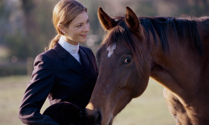Saddlers Row and Equidream School of Horsemanship - Multiple Locations: $99 for a 60-Minute Horseback-Riding Lesson with Gloves, Helmet, and Boots from Saddlers Row ($159.93 Value)