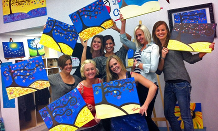 The Corky Canvas - Midtown: Painting Class and a Glass of Wine for One, Two, or Four at The Corky Canvas (Up to 54% Off)