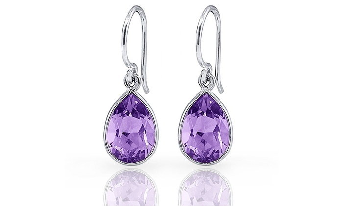 3 00 Cttw Genuine Amethyst Pear Drop Earrings In Sterling Silver