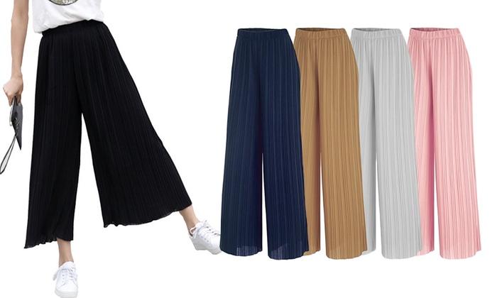 info for new images of detailed images Pantalon large fluide et plissé | Groupon Shopping