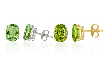 Oval Peridot Stud Earrings in 14K Gold (1 or 2 Pairs)