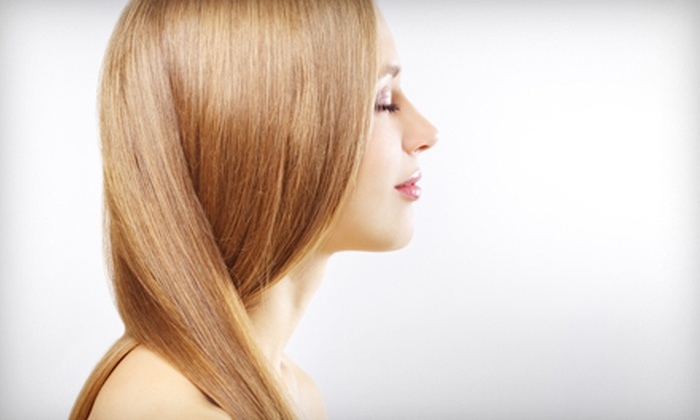 Mia's Salon - Bartlett: Moroccanoil Treatment with Options for Hairstyle or Haircut with Optional Highlights at Mia's Salon (Up to 60% Off)