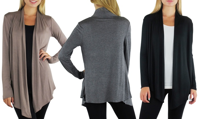 3-Pack of Free to Live Women's Draped Cardigans. Free Returns.: 3-Pack of Free to Live Women's Draped Cardigans. Free Returns.