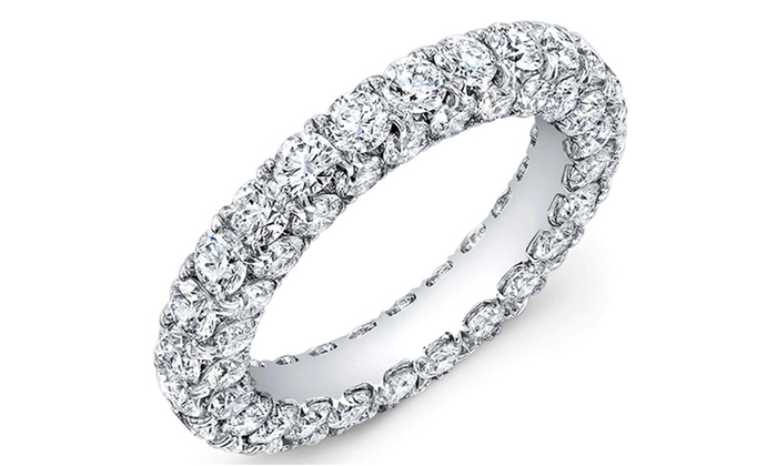 zirconia bands cut stackable eternity ring band silver wedding round cz cubic product