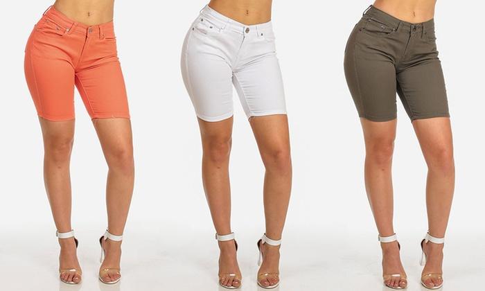 Women's Stretchy Bermuda Shorts in Junior Sizes