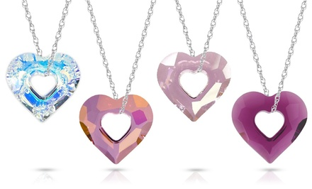 Genuine Swarovski Crystal Open Heart Pendant in Sterling Silver
