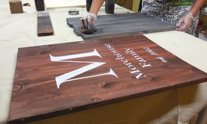 The Mud Room Inc.: Wood Sign Workshop for Two or Four People at The Mud Room (Up to 25% Off)