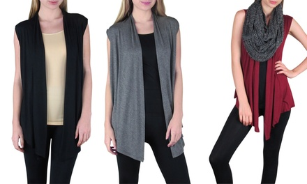 3-Pack of Women's Sleeveless Cardigans