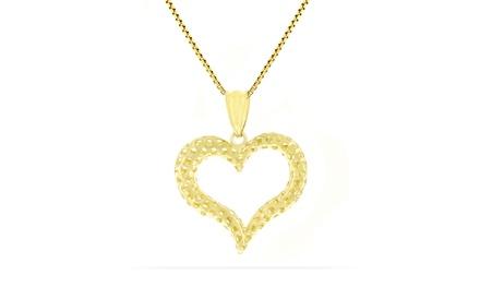 14K Solid Gold Diamond-Cut Heart Pendant