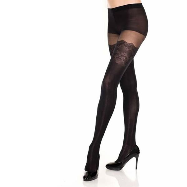 Flirt Designer Diagonal Stripe Tights//Pantyhose One Size Black//Grey