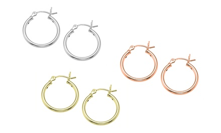 3-Pair Set of Sterling Silver Hoop Earrings