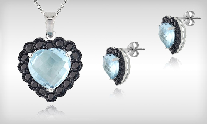 Blue Topaz Heart Jewelry: $29 for Blue Topaz and Black Spinel Heart Earrings or Pendant ($75 List Price). Free Shipping and Free Returns.