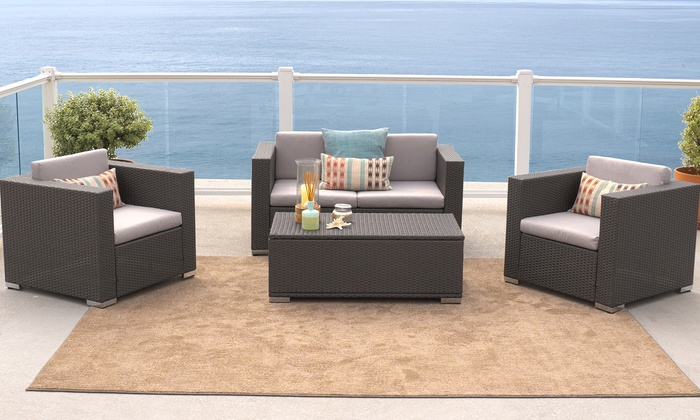 Wicker outdoor sofa set 4pc groupon goods for Outdoor furniture groupon