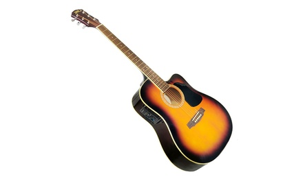 Pyle 41'' Acoustic-Electric Guitar Package with Gig Bag, Strap, and Strings