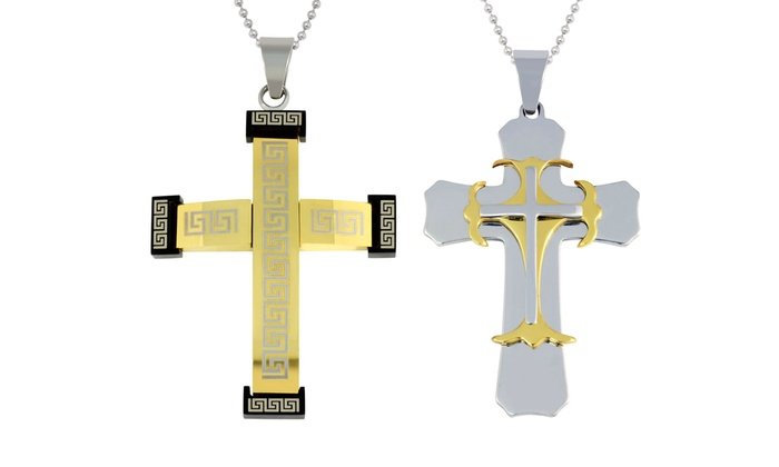 Men's Cross Necklace in 18K Gold Plated Stainless Steel: Men's Cross Necklace in 18K Gold Plated Stainless Steel