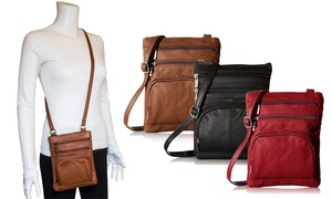 Genuine Leather Crossbody Purse with RFID Blocking Option