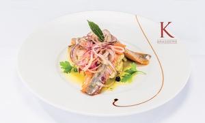 Brasserie K: Dîner raffiné avec une coupe de champagne à la Brasserie K pour 2, 4 ou 6 convives dès 65 €