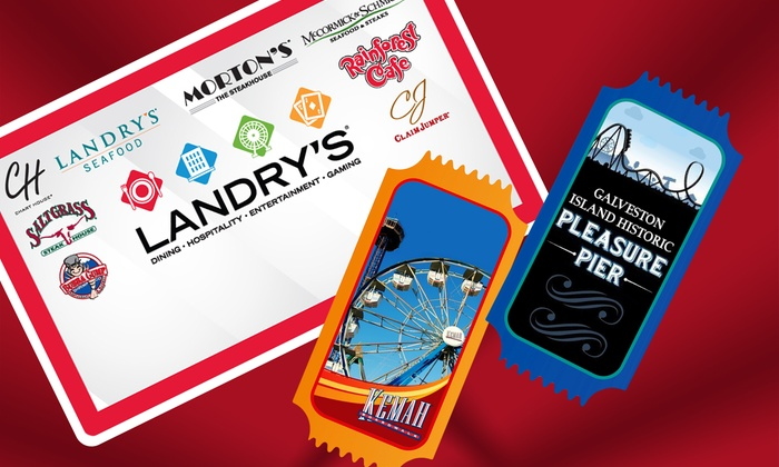 Landry's, Inc. - Multiple Locations: Two All-Day Ride Passes to Galveston Pleasure Pier or Kemah Boardwalk, Plus a $50 Landry's eGift Card
