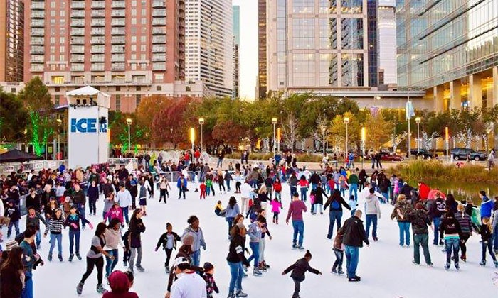 The Ice at Discovery Green - Downtown: 90 Minutes of Public Skating for Two or Four with Skate Rentals at The Ice at Discovery Green (Up to 46% Off)