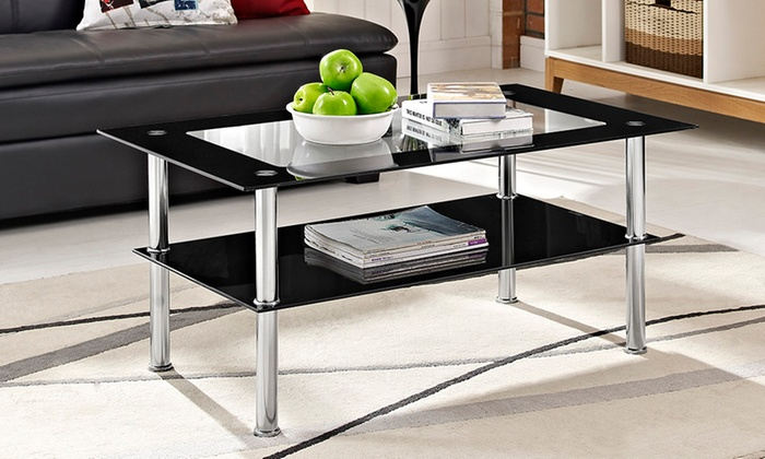 Milano Black Rectangle Glass Coffee Table For
