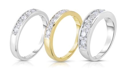 1/4, 1/2, or 1 CTTW Certified Diamond Cluster Channel Bands in 10K Gold from $319.99–$1,079.99