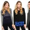 Women's Long-Sleeve Knit Fashion Tees