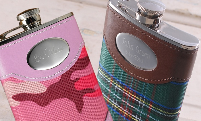 A Gift Personalized: Personalized Plaid, Pink Camo, Pink, Horn, or Triangular Flask from A Gift Personalized (Up to 85% Off)
