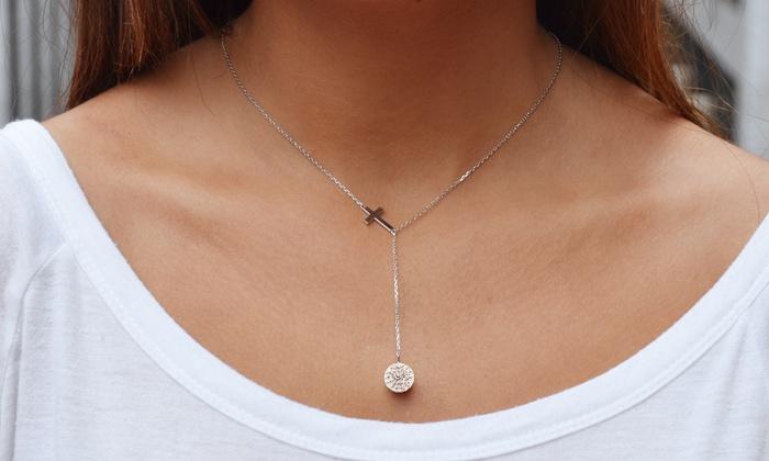 Elements of Love Swarovski Elements Cross Necklace in Sterling Silver