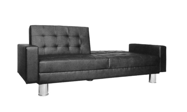 Modern folding leather sofa bed groupon goods for Sofa bed groupon