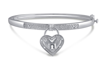 Diamond Accent Heart Lock Bangle by Brilliant Diamond