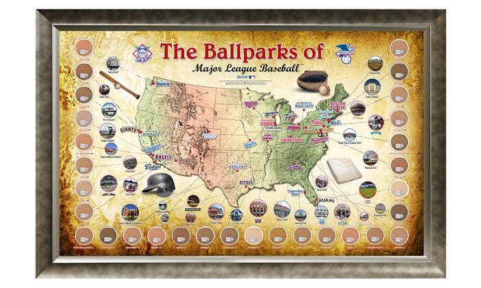 20x32 mlb ballpark map with game used dirt