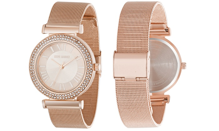 4fd7705d02b Steve Madden Crystal Case Dial Rose Gold Alloy Mesh Band Watch Strap Analog  Quartz New Yes Alloy Alloy Buckle