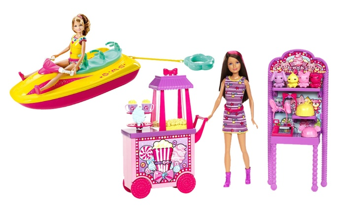 Barbie Sisters Play Sets: Barbie Sisters Jet Ski or Popcorn Stand Play Set. Multiple Options from $18.99–$23.99. Free Shipping and Returns.