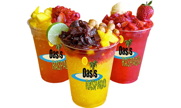 Oasis Raspados Florida - Redlands Mexican Market: 3 or 6 Groupons, Each for a 12-Ounce Raspado, Smoothie, Green Tea, or Sundae at Oasis Raspados Florida (50% Off)