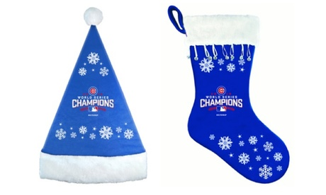 MLB Chicago Cubs World Series Christmas Stocking & Santa Hat acf2d00f-ab0f-45a6-8891-fe0ace67a1e8
