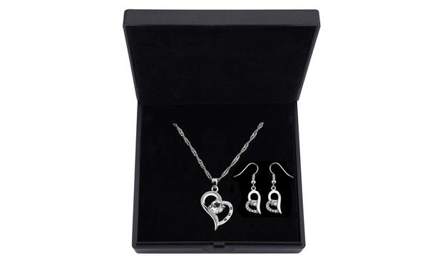 Mum' Crystal Heart Necklace & Earrings Set