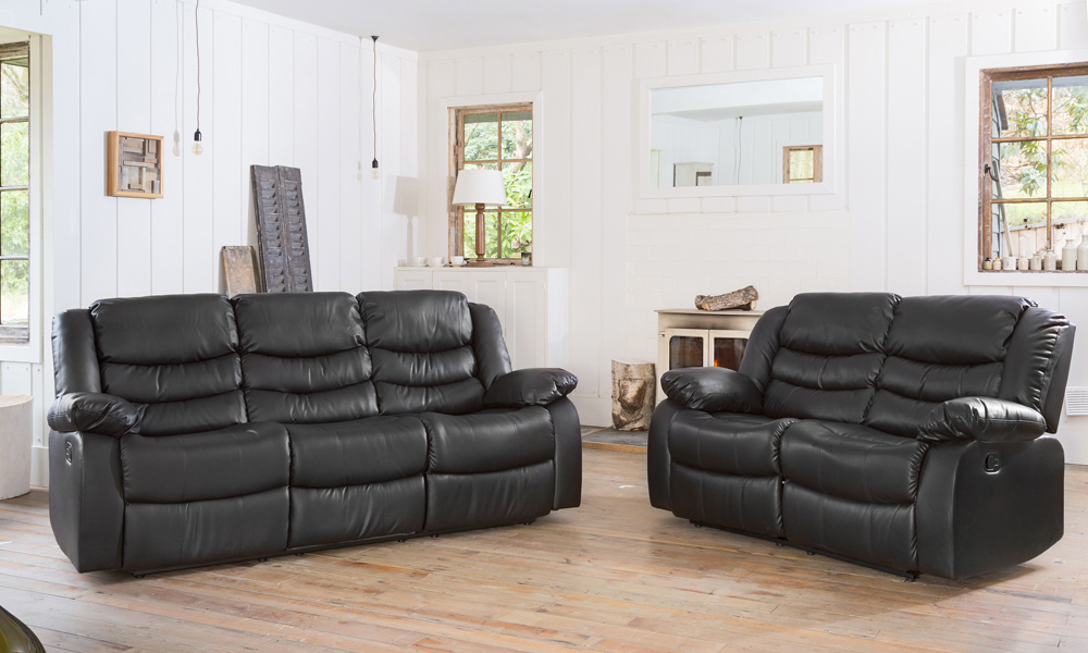 Fernandez leather sofa set groupon goods Groupon uk living room furniture