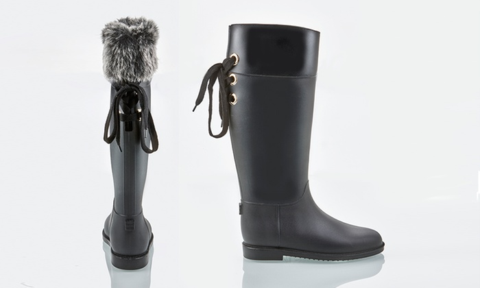 Clearance: Olive Street Rain Boot With Removable Faux Fur Liner ...