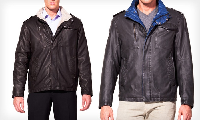 Izod Men's Faux-Leather Bomber Jackets: $48 for an Izod Men's Faux-Leather Jacket ($150 List Price). 12 Options Available. Free Shipping and Returns.
