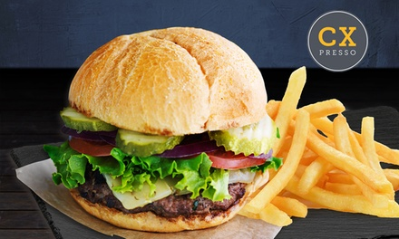 Burger with Chips and Smoothie for One ($15), Two ($29) or Four ($49) at CXpresso, Two Locations (Up to $90 Value)