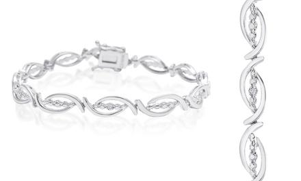 Diamond Accent Flair Bracelet in Platinum Plating
