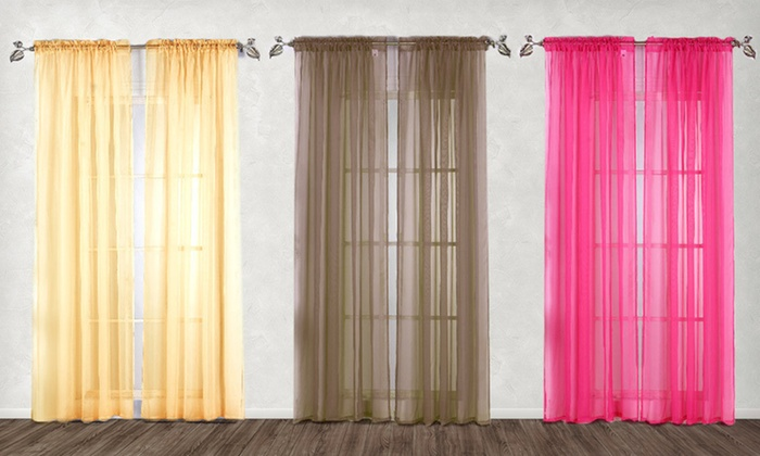 $10.99 for a set of two sheer abby curtains | groupon