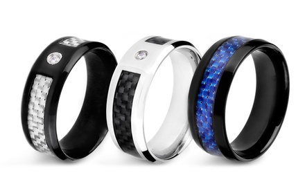 Men's Stainless Steel Rings with Carbon-Fiber Inlay