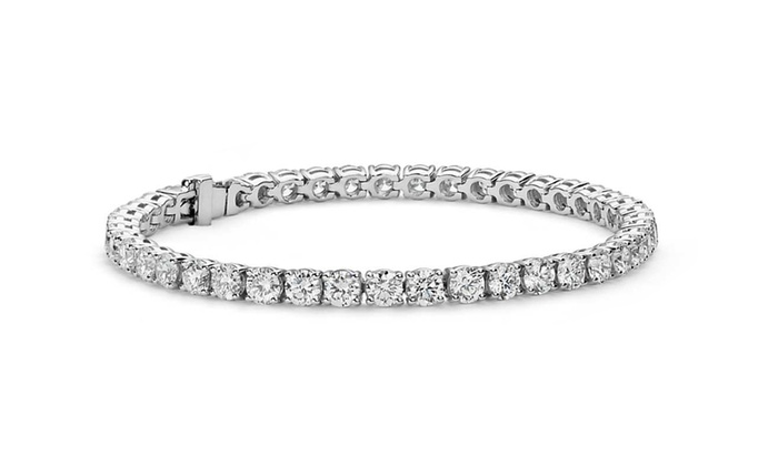 Rose Gold White Gold Tennis Bracelet Using Swarovski Element Crystals-White Gold with Gift Box u6OH38CFI